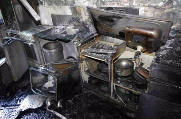 The kitchen of flat 16 was left almost unrecognisable by the