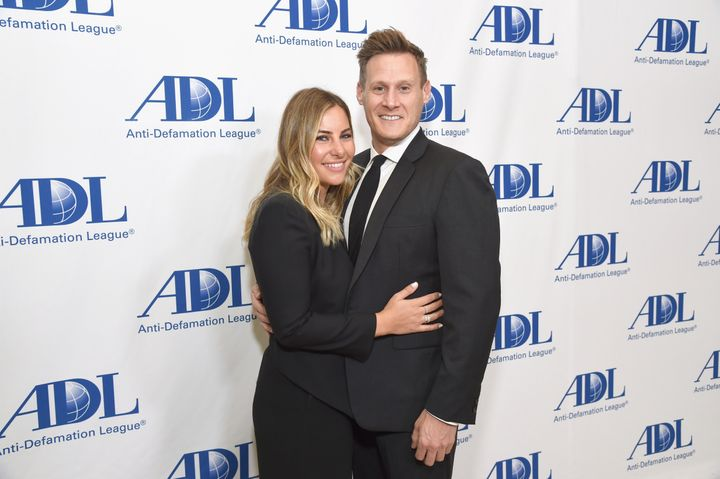 Tracy Kurland and Trevor Engelson at the Anti-Defamation League Entertainment Industry dinner on April 17 in Beverly Hills.&n