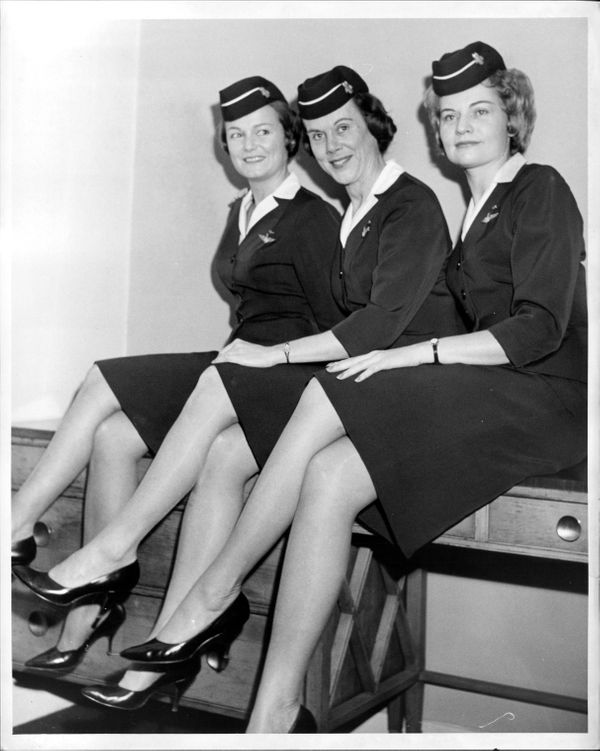 Three flight attendants spoke out at a press conference in 1963 about American Airlines' policy of retiring them at the