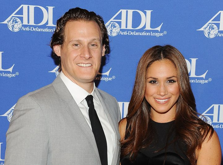 Trevor Engleson and Meghan Markle at the Anti-Defamation League Entertainment Industry Awards dinner on Oct. 11, 2011, in Bev
