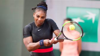 PARIS, FRANCE June 3. French Open Tennis Tournament - Day Eight. Serena Williams of the United States in action with sister Venus Williams of the United States during their loss against Andreja Klepac of Slovenia and Maria Jose Martinez Sanchez of Spain in the Women's Doubles Competition on Court One at the 2018 French Open Tennis Tournament at Roland Garros on June 3rd 2018 in Paris, France.  (Photo by Tim Clayton/Corbis via Getty Images)