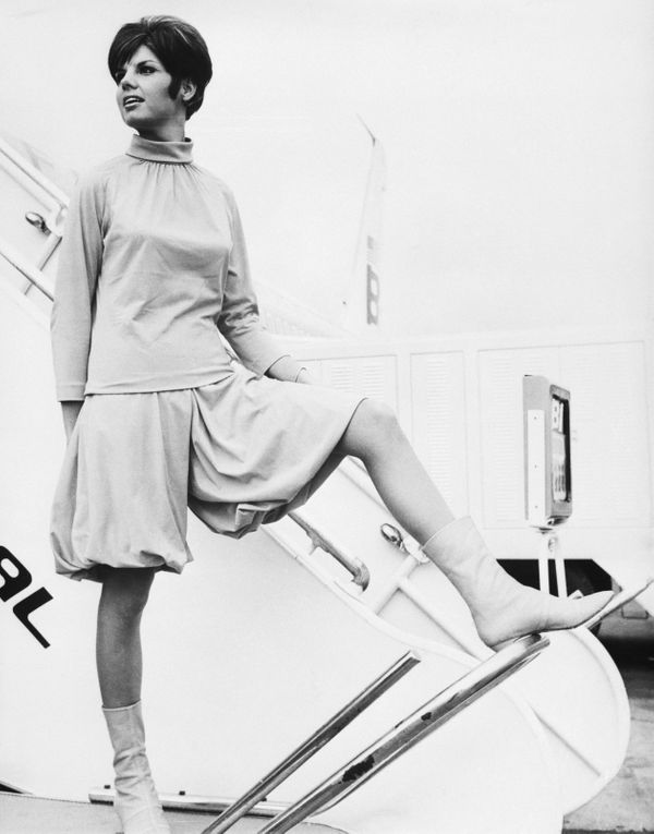 Emilio Pucci designed this 1965 uniform for Braniff International Airways hostesses.