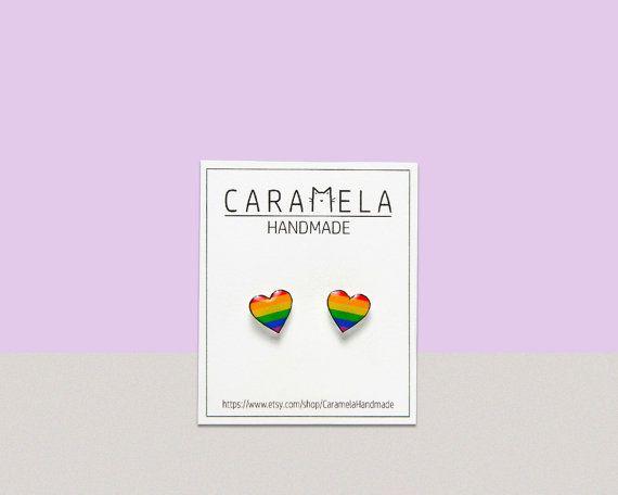 "$11, get it <a href=""https://www.etsy.com/listing/249252538/rainbow-heart-stud-earrings-gay-pride"" target=""_blank"">here</a>.&"