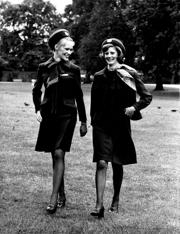 Royal dressmaker Hardy Amies designed these 1972 British Airways uniforms.