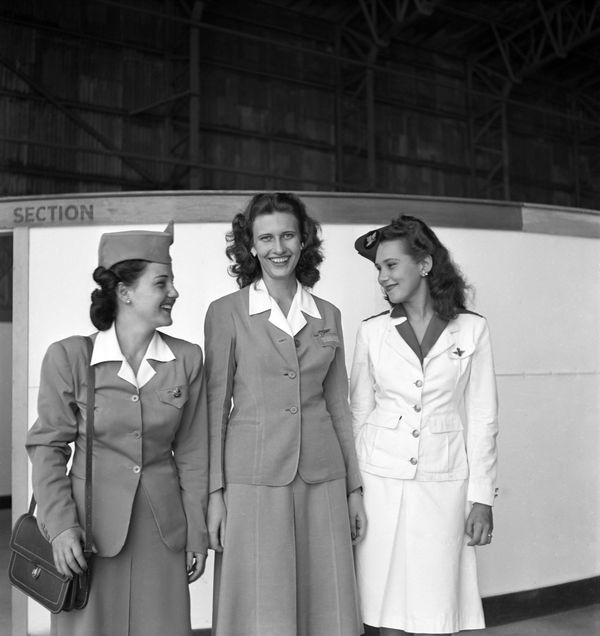 Avianca Airlines, Pan American Airways and KLM Royal Dutch Airlines stewardesses in San Juan, Puerto Rico, circa 1947.
