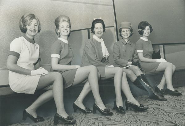 Air Canada stewardesses model new uniforms in 1969.