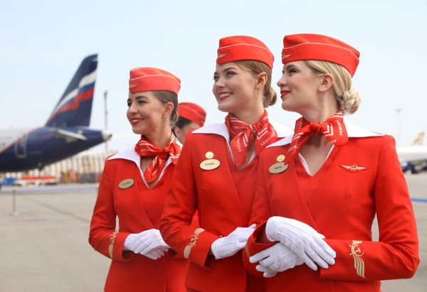 Aeroflot flight attendants in Russia in 2018.