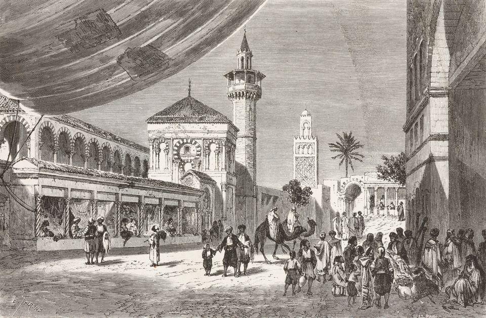 Les souks de Tunis tels que dessinés par l'illustrateur français Alexandre de Bar (1821-1908)...