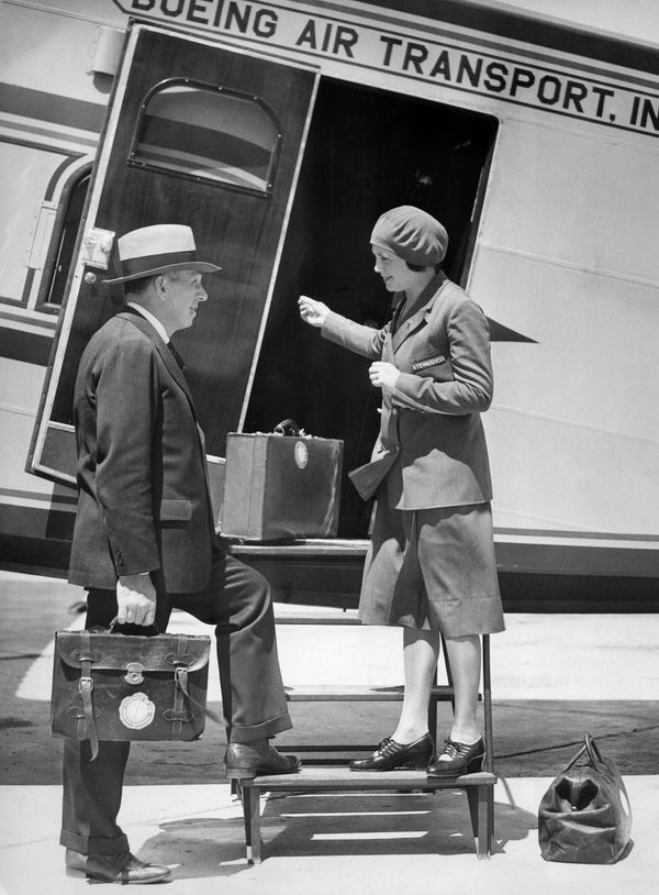 Often considered the first female flight attendant in history, 25-year-old registered nurse Ellen Church from Iowa welco