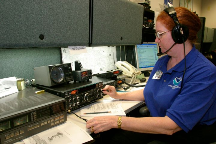 A volunteer ham radio operator communicating with those in path of Hurricane Ivan.