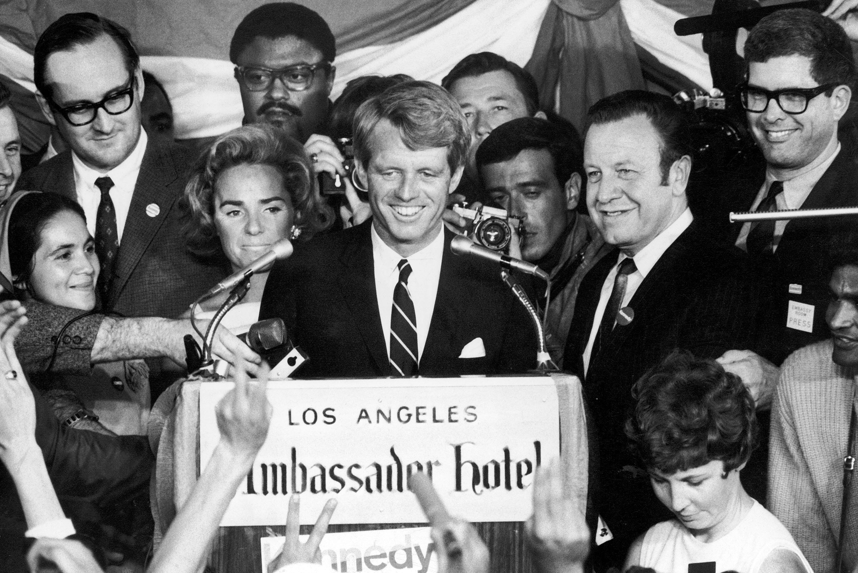 Kennedy celebrated his California primary win in a speech to supporters at the Ambassador Hotel in Los Angeles. Moments later