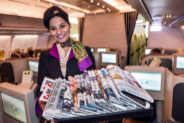 An Etihad Airways flight attendant on a flight from Washington, D.C., to Abu Dhabi in 2015.