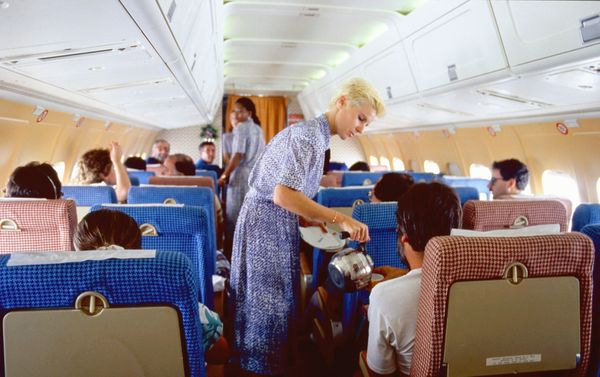 Stewardesses on a flight from Madrid to Barcelona in 1986.