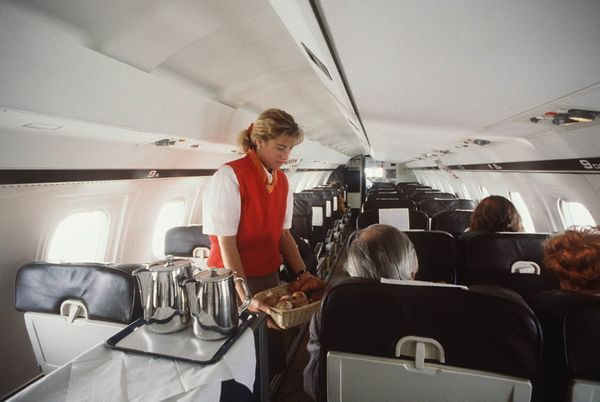A Tempelhof Airways stewardess in 1990.