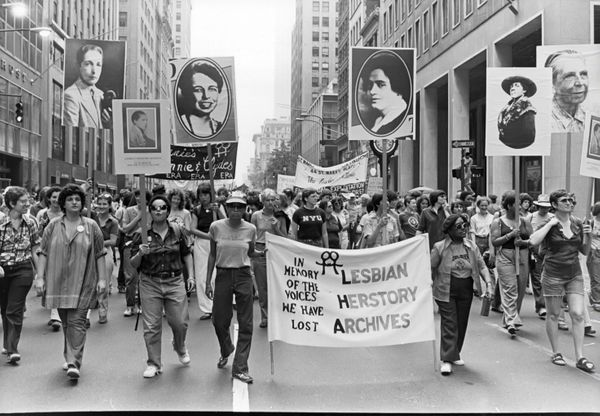 Gay and lesbian Pride parade in New York City, circa 1980.