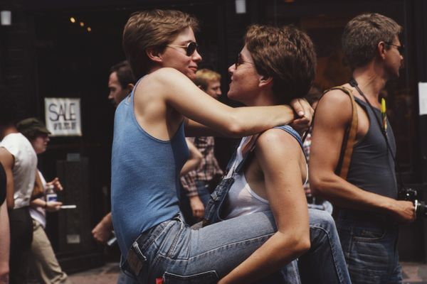 Two women embrace during the gay Pride parade in New York City, June 1982.