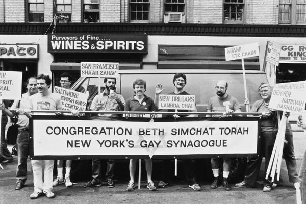 Members of the Jewish community join gay Pride day in New York City, June 1982.