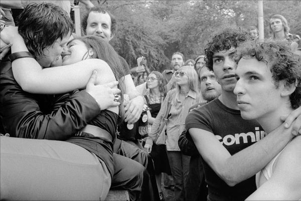 Couples embrace and kiss in Central Park after a gay Pride parade, New York, New York, June 26, 1975.