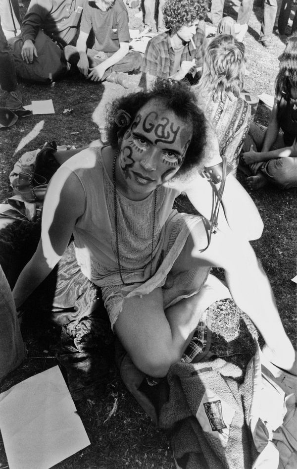 A participant at a gay Pride gathering in Golden Gate Park, San Francisco, California, circa 1972.