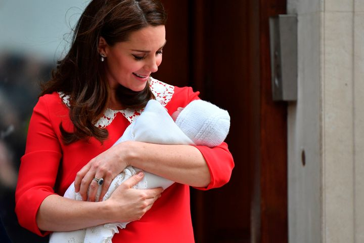 Britain's Catherine, Duchess of Cambridge looks at her newborn son, Prince Louis of Cambridge, outside St. Mary's Hospital in