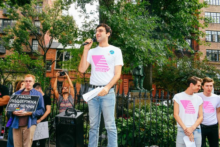 Adam Eli, the founder of Voices 4, speaks at an event.