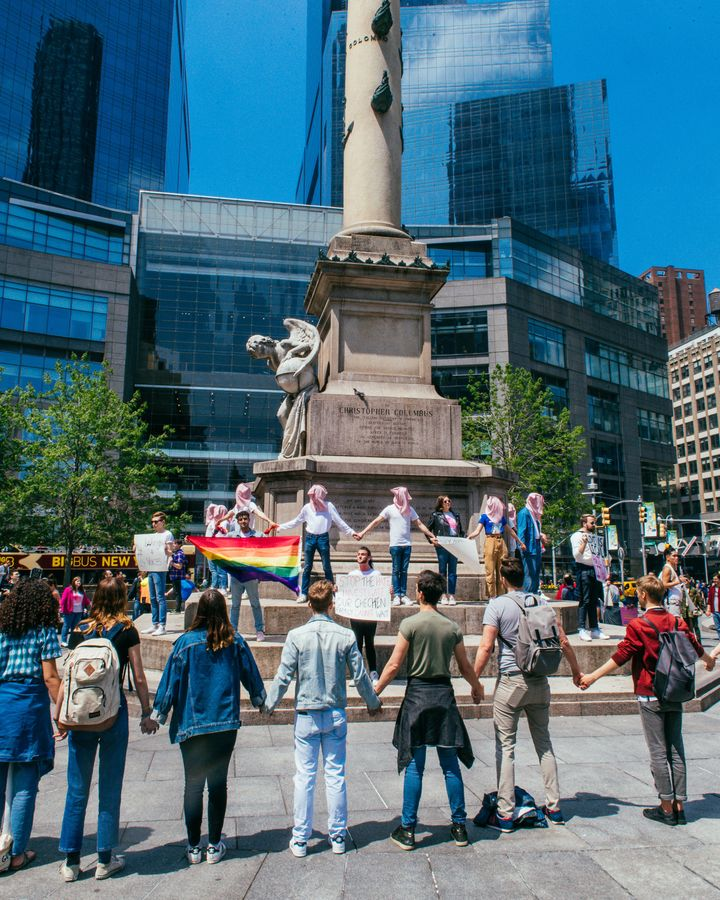 A public Voices 4 demonstration in Columbus Circle in New York City.