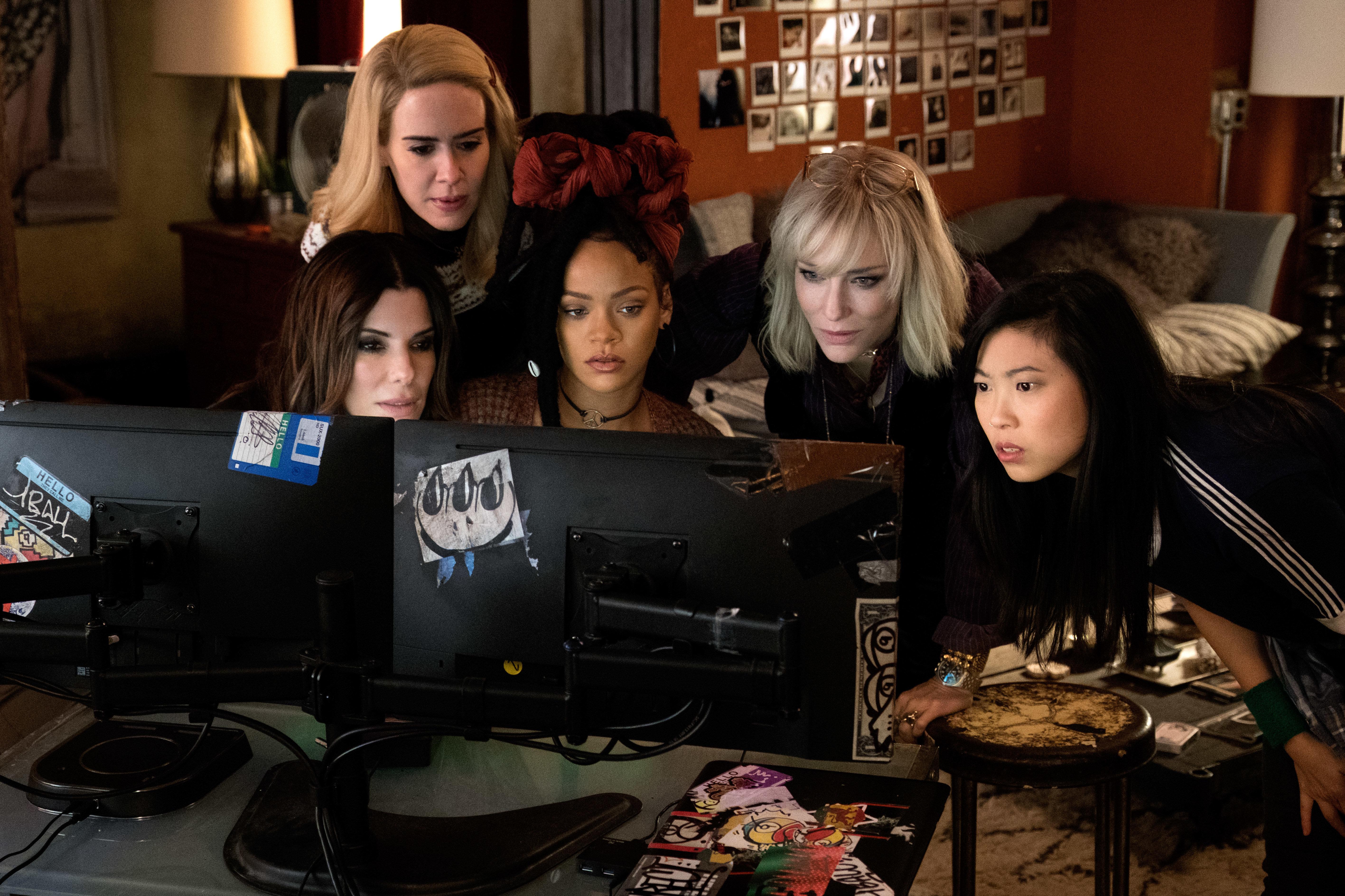 "Sandra Bullock, Sarah Paulson, Rihanna, Cate Blanchett and Awkwafina live that sweet hacker life in ""Ocean's 8."""