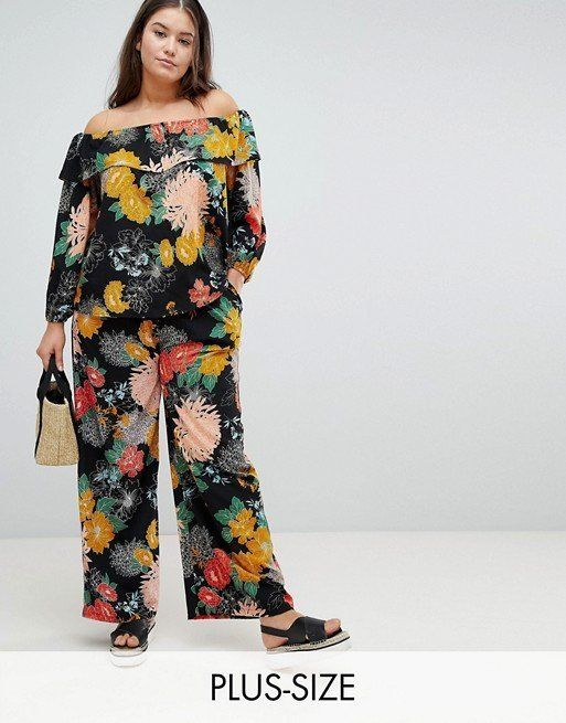 """Get the matching set <a href=""""http://us.asos.com/glamorous-curve/glamorous-curve-bardot-top-pants-in-bold-floral-two-piece/gr"""