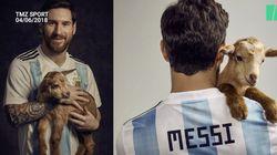 Lionel Messi pose avec des chèvres (mais n'est pas le meilleur pour