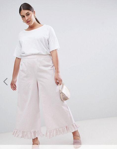 """Get the matching set <a href=""""http://us.asos.com/lost-ink-plus/lost-ink-plus-wide-leg-pants-with-frill-hem-in-stripe-two-piec"""