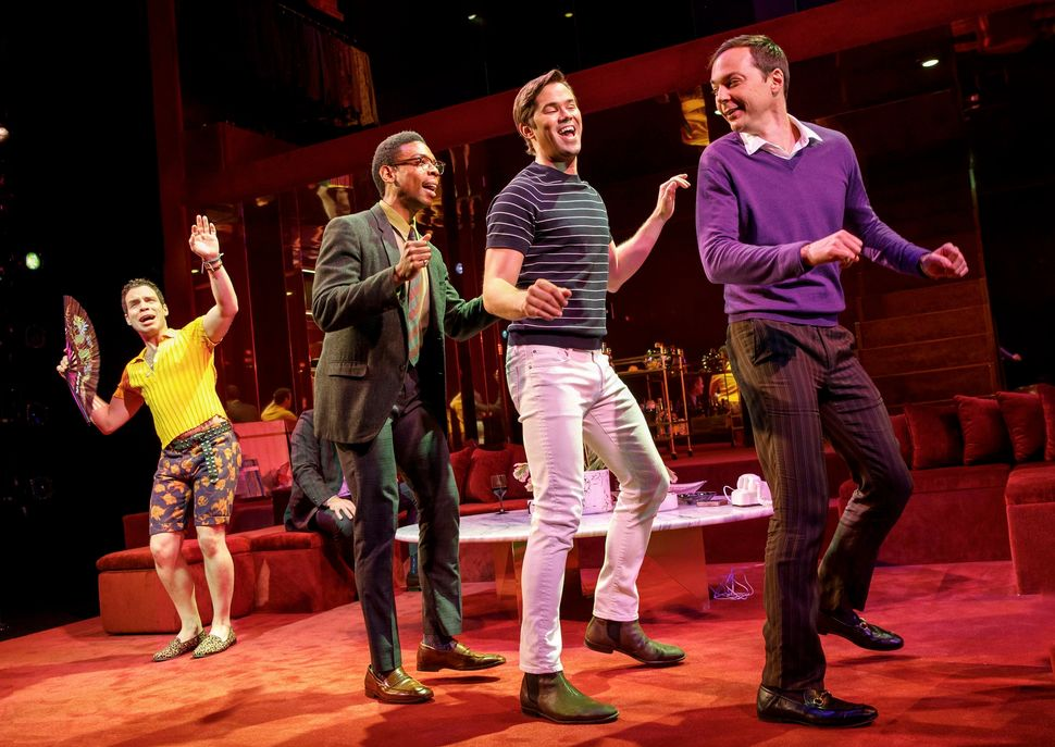 "Robin de Jesús, Michael Benjamin Washington, Andrew Rannells and Jim Parsons in ""The Boys in the Band."""