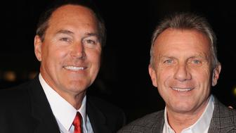 SAN FRANCISCO, CA - NOVEMBER 27:  Former San Francisco Forty Niners Dwight Clark and Joe Montana attend the 555 California Christmas Tree Lighting on November 27, 2012 in San Francisco, California.  (Photo by C Flanigan/WireImage)