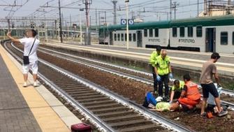 Train accident selfie