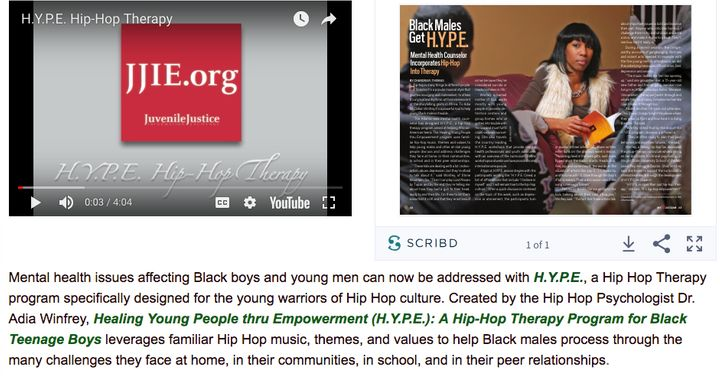 Adia McClellan Winfrey's website refers to her as a psychologist and shows videos of her H.Y.P.E. and hip-hop therapy program