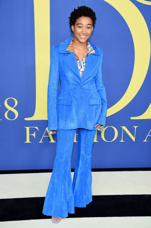 The actress went bold in a blue suit.