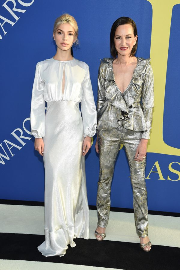 The mother-daughter duo went for metallics.