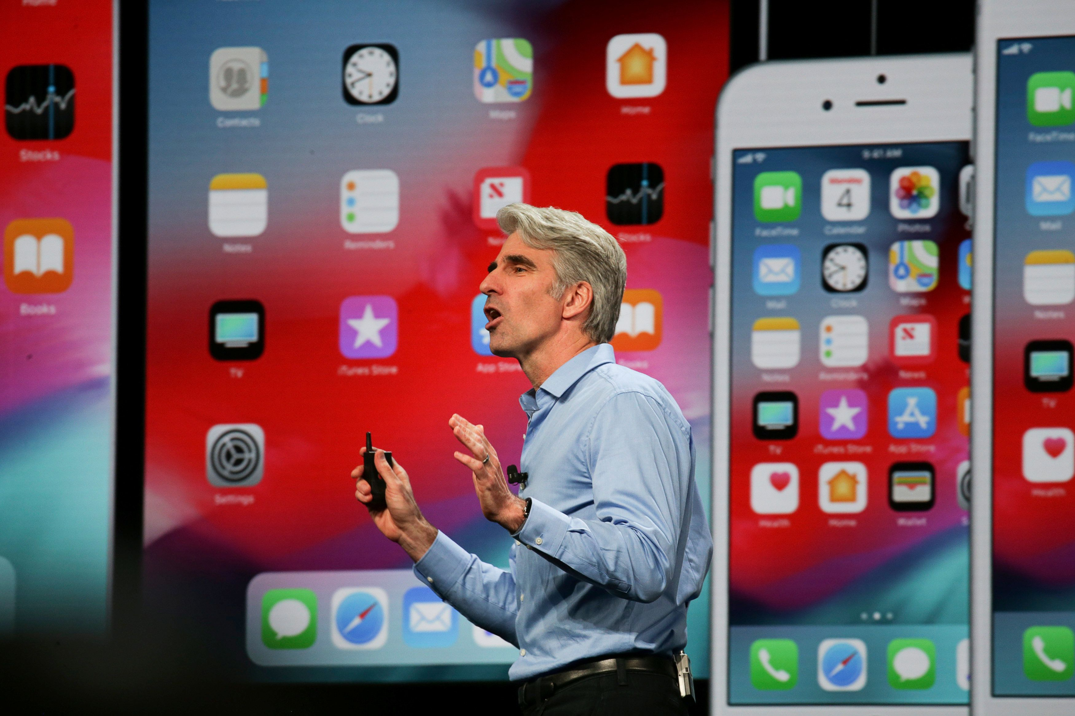 Apple senior vice president of Software Engineering Craig Federighi speaks at the Apple Worldwide Developer Conference (WWDC) in San Jose, California, U.S., June 4, 2018.   REUTERS/Elijah Nouvelage