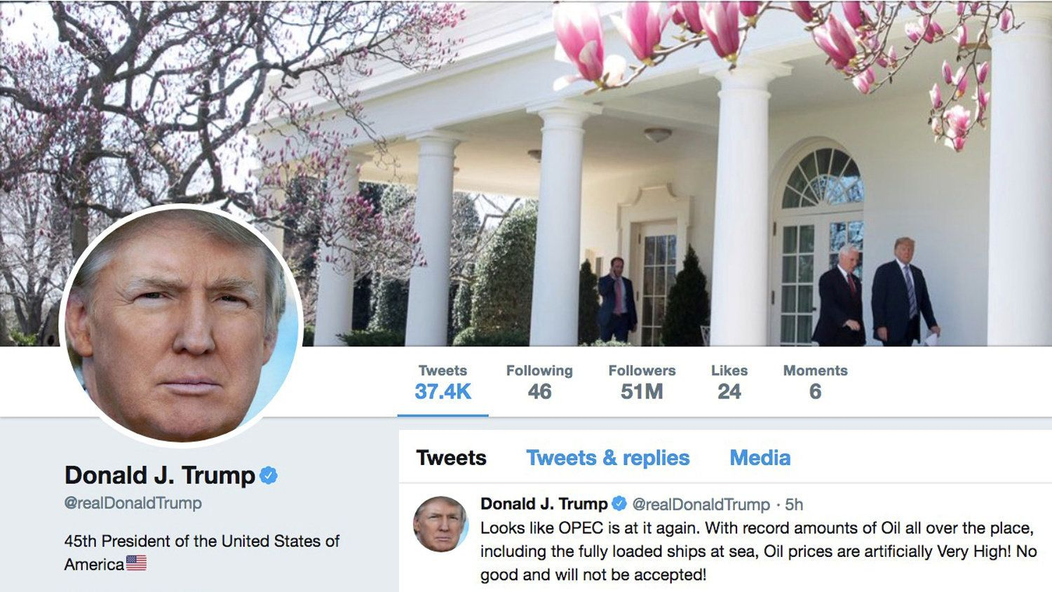 The masthead of U.S. President Donald Trump's @realDonaldTrump Twitter account with a message about OPEC policy is seen on April 20, 2018.  @realDonaldTrump/Handout via REUTERS    ATTENTION EDITORS - THIS IMAGE WAS PROVIDED BY A THIRD PARTY
