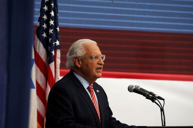 주 이스라엘 미국 대사관의 예루살렘 개관식에서 연설 중인 데이비드 프리드먼