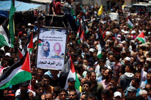 6울 2일(현지시간) 라잔 아쉬라프 나자르의 장례식에 모인