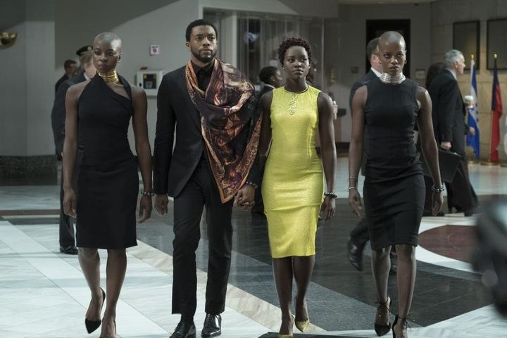 """Danai Gurira, Chadwick Boseman,Lupita Nyong'oand Florence Kasumba in """"Black Panther."""""""