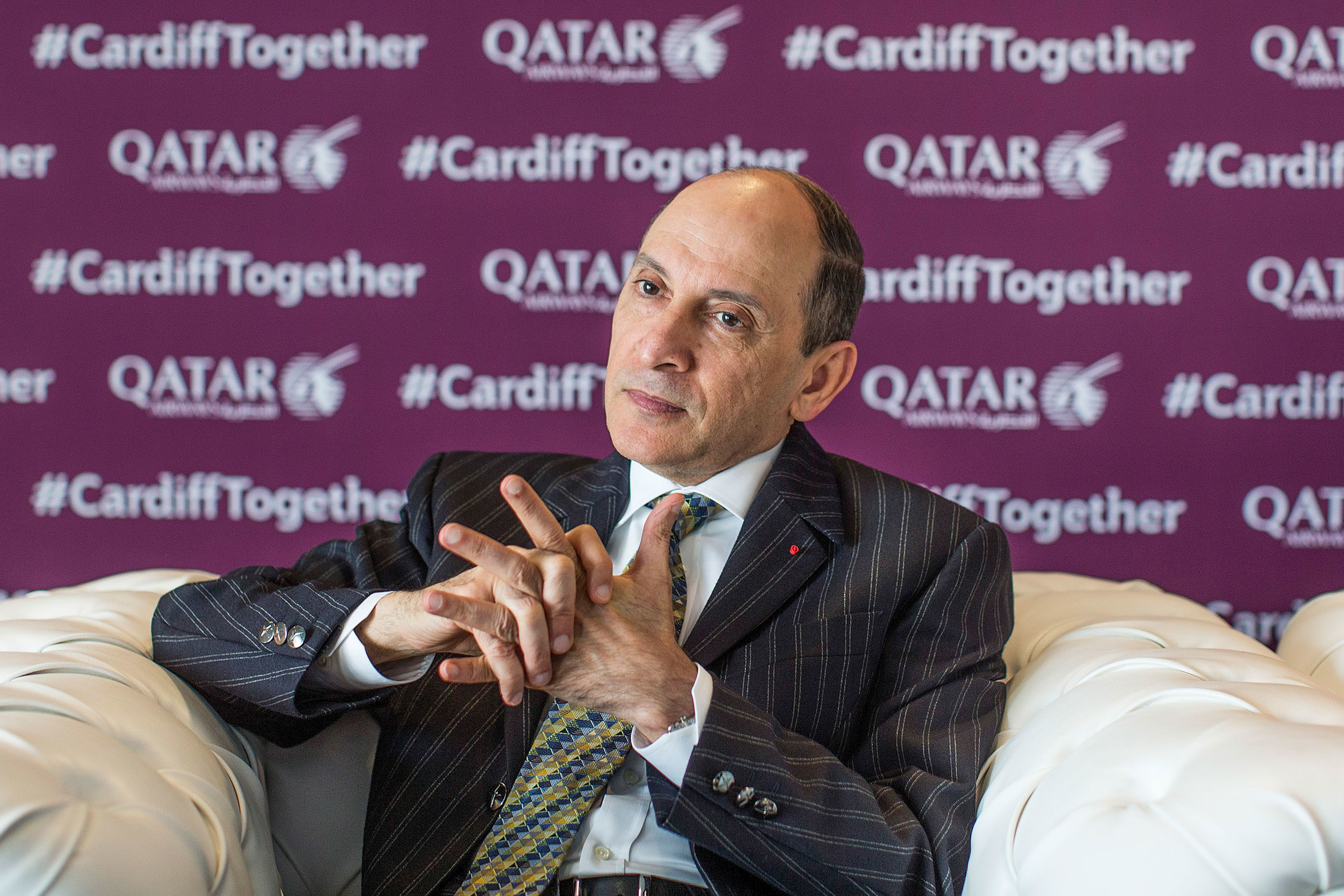 Qatar Airways CEO Akbar Al Baker speaks during an interview on May 2, 2018, in Cardiff,