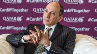 Akbar Al Baker, chief executive officer of Qatar Airways, pauses during an interview in Cardiff, U.K., on Wednesday, May 2, 2018. Qatar Airwaysis looking at loaning planes including wide-body models to British Airways in a move that would soak up excess capacity at the Gulf carrier while easing fleet presures at the U.K. operator as some of its own Boeing Co. 787 jets get emergency overhauls. Photographer: James Beck/Bloomberg via Getty Images