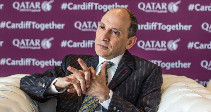 Qatar Airways CEO Akbar Al Baker speaks during an interview on May 2, 2018, in Cardiff, U.K.