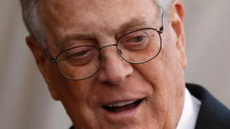 "FILE PHOTO --  Businessman David Koch arrives at the Metropolitan Museum of Art Costume Institute Gala 2015 celebrating the opening of ""China: Through the Looking Glass,"" in Manhattan, New York May 4, 2015.   REUTERS/Lucas Jackson/File Photo"