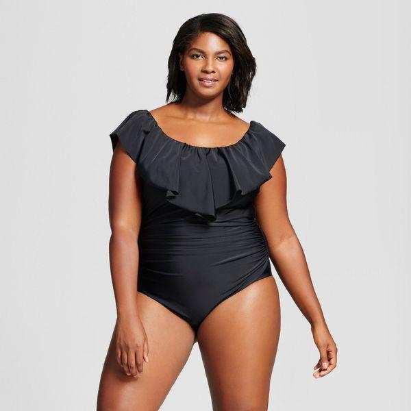 """Get the suit <a href=""""https://www.target.com/p/women-s-plus-size-off-the-shoulder-flounce-one-piece-ava-viv-153-black/-/A-526"""