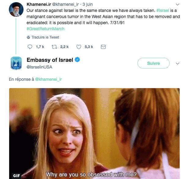 Sur Twitter, l'ambassade d'Israël aux Etats-Unis répond à Khamenei avec un gif de