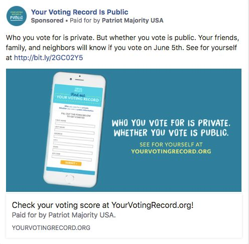 Your Voting Record Is Public is a Facebook page run by Patriot Majority USA.