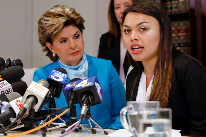 Attorney Gloria Allred listens as client Danielle Mohazab speaks about an alleged incident during a 2016 exam with Dr. George