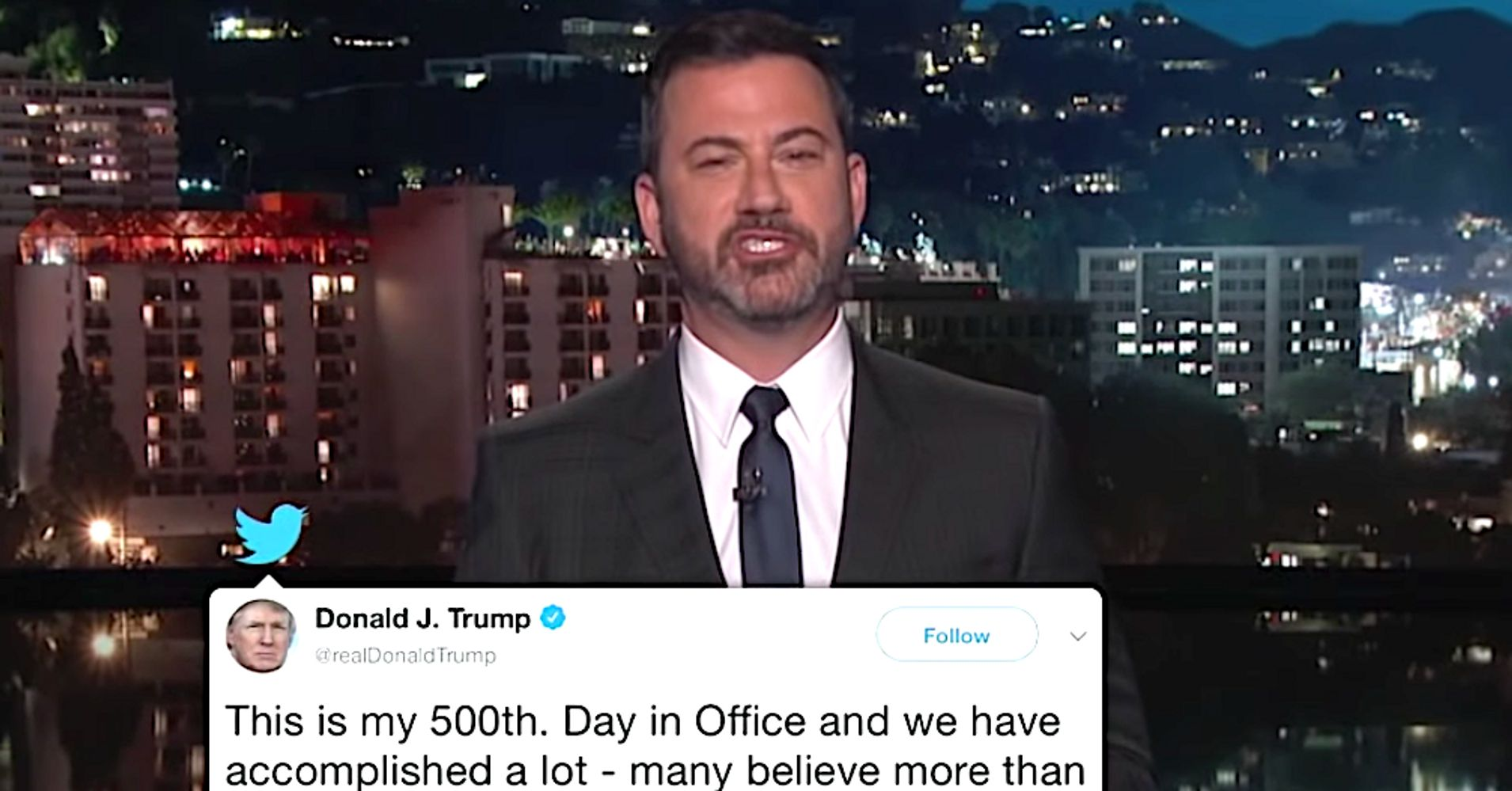 Jimmy Kimmel Celebrates Donald Trump's 500th Day In His Own Way